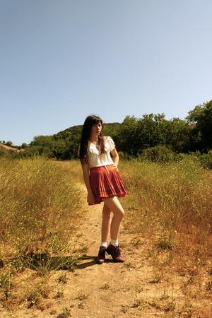 Anthropologie shirt - Oililly skirt - boots