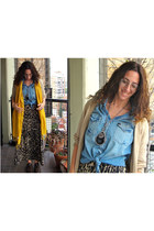 Lupe dress - denim shirt Bensimon shirt - yellow scarf random brand scarf - rand