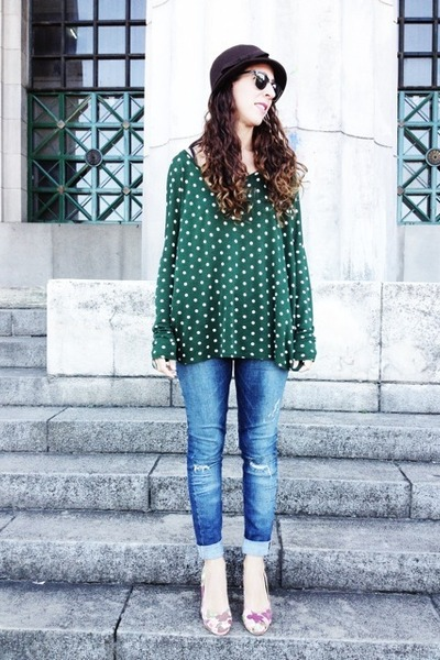 forest green dots Zara t-shirt - navy ay not dead jeans