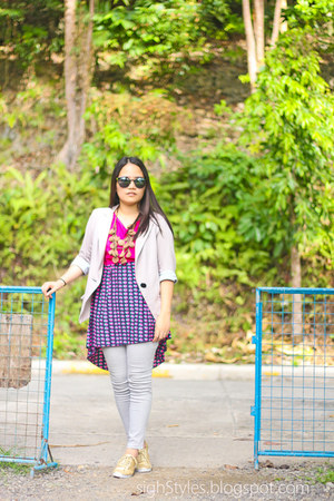 gray blazer - mullet dress - sunglasses - gray pants