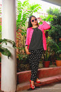 Fuchsia-pink-blazer-pants-black-and-white-blouse