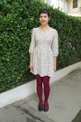 Cream-heavenly-couture-dress-maroon-hue-tights-black-seychelles-flats
