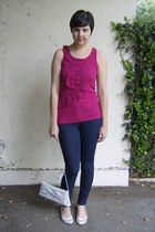 navy CJ by Cookie Johnson jeans - silver thrifted bag - hot pink Forever 21 top