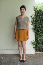 mustard Forever 21 skirt - camel thrifted top - black Aldo flats