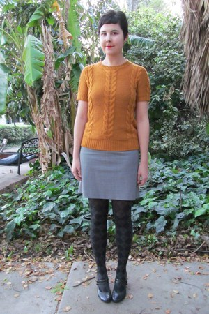 burnt orange Forever 21 sweater - black and gray Target tights