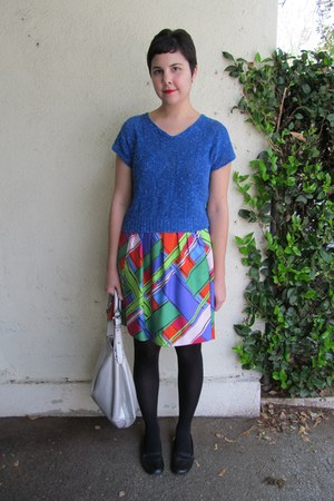 blue Sally Jane Vintage on Etsy sweater - chartreuse Leifsdottir dress