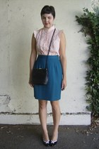 teal thrifted skirt - black thrifted bag - peach thrifted blouse