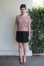 light pink Nordstrom Rack sweater - black cynthia steffe skirt