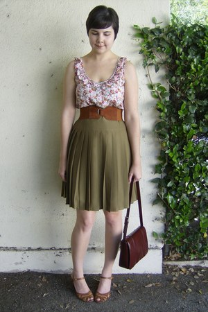 olive green thrifted skirt - light pink floral thrifted dress