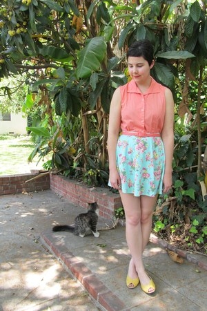 light blue xi skirt - mustard Urban Outfitters flats - salmon thrifted blouse