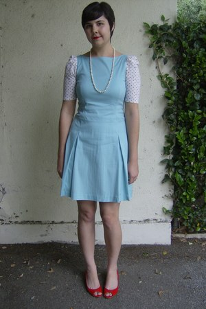 light blue thrifted dress - red thrifted wedges - white and black polka-dotted U