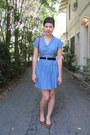 Navy-thrifted-belt-periwinkle-forever-21-dress-red-american-vintage-bag