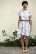 light blue Rose Bowl Flea market dress - salmon vintage from Ebay belt