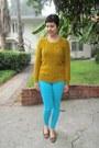 Aquamarine-bebe-jeans-gold-target-sweater-bronze-aura-by-lodi-flats