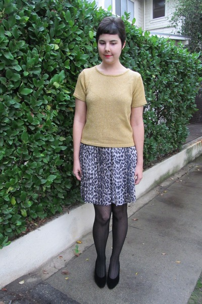 thrifted top - Target tights - River Island skirt - thrifted vintage heels