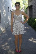 cream H&M dress - black Urban Outfitters sunglasses - hot pink thrifted heels