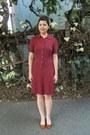 Brick-red-thrifted-laura-ashley-dress-tawny-miz-mooz-flats