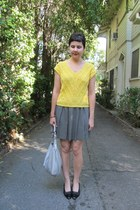 gold vintage from etsy sweater - silver Tignanello bag - black thrifted heels