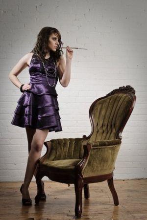 purple Alexandra Wilson - sustainable design dress - gray H&M necklace - black J