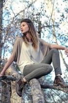 dark brown marshells boots - beige 1 size larger Garage Sale shirt