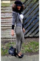 beige 2NU bodysuit - dark khaki next pants - black 2NU heels