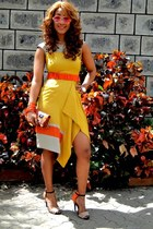 mustard karen millen dress - orange Zara heels