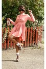 Maroon-lace-up-booties-2nu-boots-peach-pleated-2nu-dress