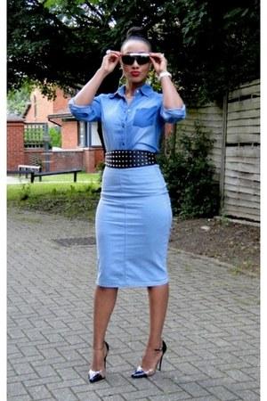 sky blue 2NU shirt - sky blue new look skirt - black 2NU heels