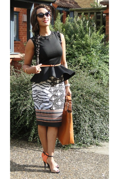 orange River Island skirt - tan Zara heels - black 2NU top
