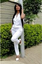 white Zara heels - ivory River Island romper