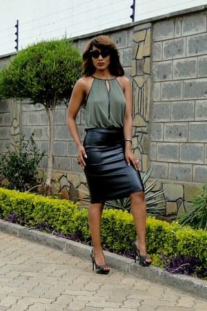 army green H&M top - black 2NU skirt