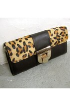 Gold Buckle Fur Leopard Clutch