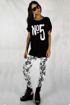 off white 2amstyles leggings - black no5 stud sheer 2amstyles top