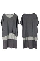 Layered Loose Crew Neck Tee Dress