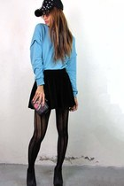 light blue 2amstyles sweater - black studded cap 2amstyles hat