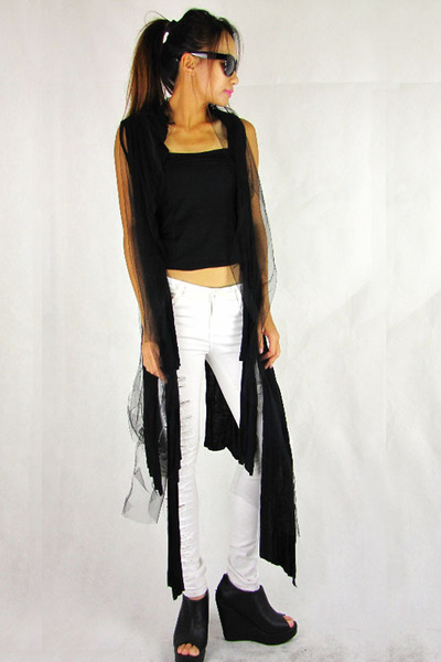 black 2amstyles vest - black tank cropped 2amstyles top - white 2amstyles pants