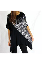 Black-white Geometric Printed Tassels Asymmetric Top