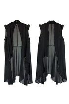 Chiffon Sheer Sleeveless Irregular Hemline Cardigans