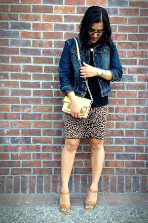 brown leopard knit Carmen Volvo skirt - blue jean ann taylor jacket