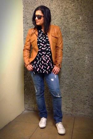 camel leather ab jacket - blue patchwork dylan george jeans