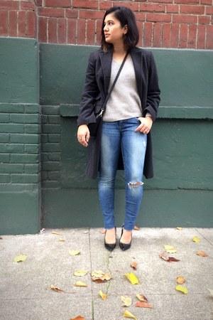charcoal gray Sisley coat - blue chelsea skinny Joes Jeans jeans