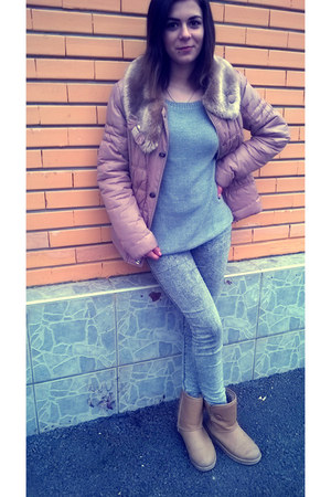 camel Mei boots - grey Pull & Bear jeans - fur camel Royal jacket