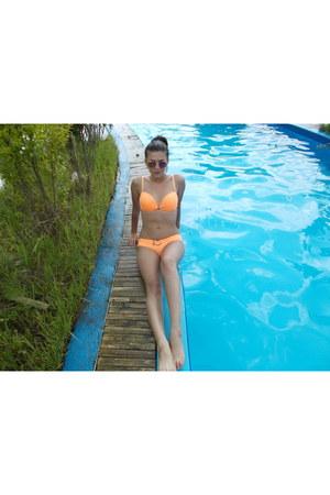 orange New Yorker swimwear - mirorr purple New Yorker glasses