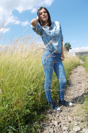 denim H&M shoes - denim Bershka jeans - denim c&a shirt