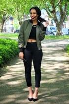 Topshop jacket - Topshop jeans - H&M top - Zara heels