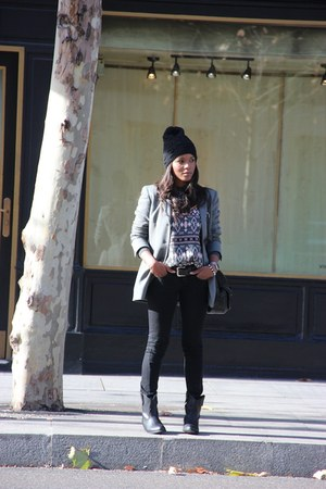 armani blazer - wanna boots - Mango jeans - vintage sweater