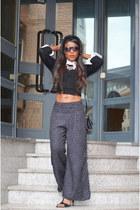 black Mango top - white Zara pants