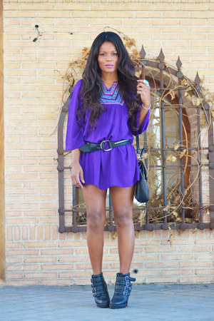 purple vintage dress - black Primark boots