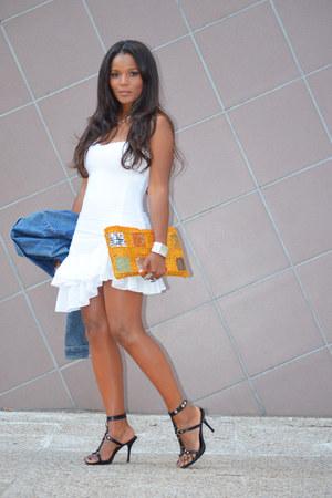sky blue Zara jacket - white over 16 dress