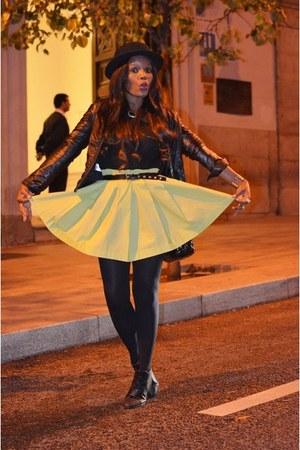 black H&M hat - black Zara jacket - lime green DIY skirt